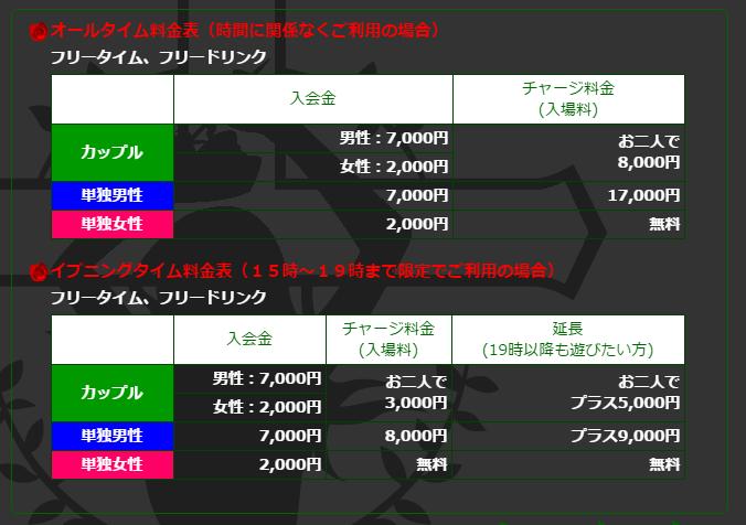 【料金表】男だけで行くのと、一万円の金額差があるのが分かる。